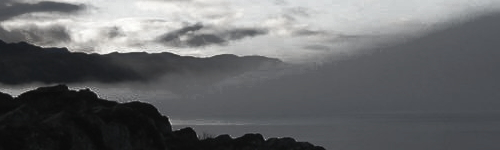 Mist over Sound of Sleat from Ferry House